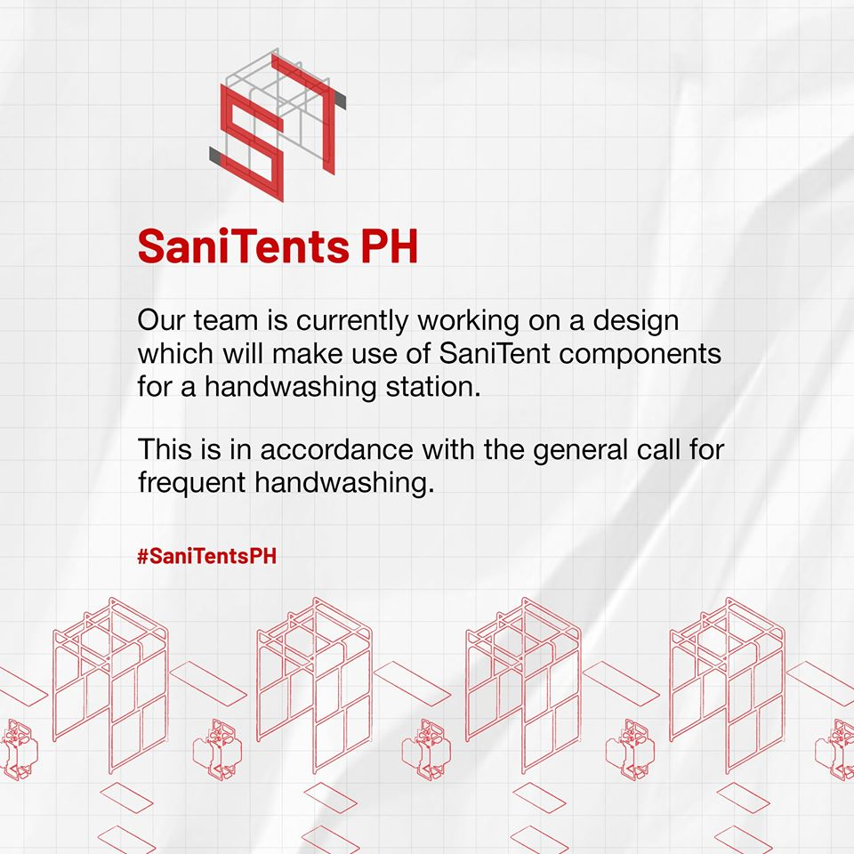 SanitentsPH is inviting LGUs and individuals who have developed their own handwashing stations, sensitive to the current situation, to share their ideas in their SaniTents PH Bayanihan Community group: https://tinyurl.com/ud4qsfa. Post taken from SaniTents PH Facebook page, April 13