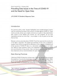 POLICY NOTE NO. 6 / 08 May 2020 Prevailing Data Issues in the Time of COVID-19 and the Need for Open Data
