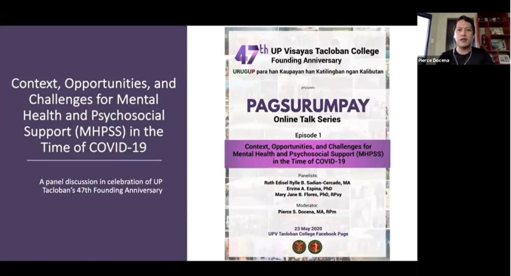 """Screenshot from the video of UPVTC's Pagusurumpay Online Talk Series Episode 1, on """"Context, Opportunities, and Challenges for Mental Health and Pyschosocial Support (MHPSS) in the Time of COVID-19."""" (https://www.facebook.com/watch/?v=602178047312909)."""