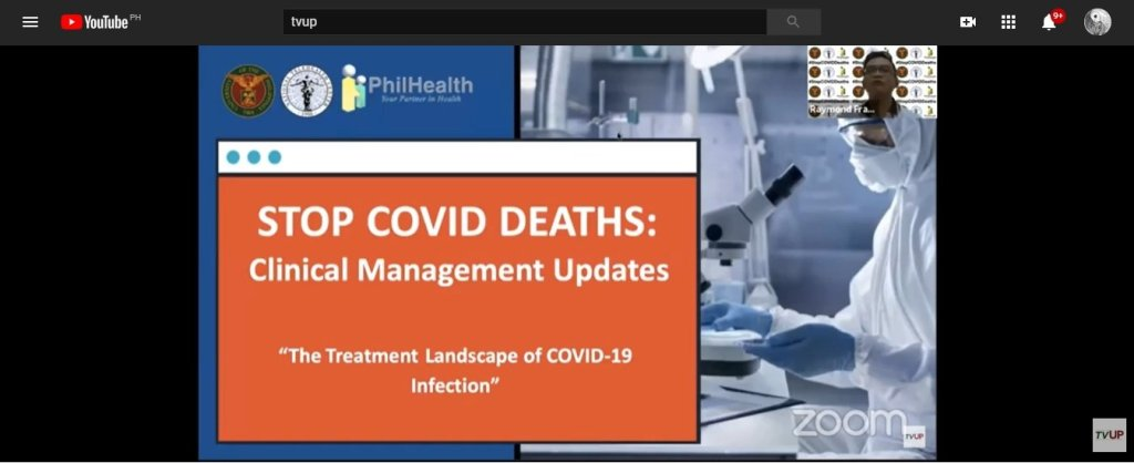 """Screenshot from the replay of the third """"Stop COVID Deaths: Clinical Management Updates"""" webinar, streamed live on May 7, 2020, on TVUP's YouTube channel"""