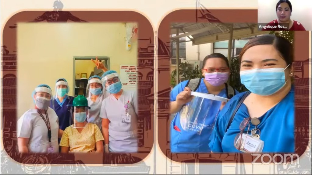 Screenshot of Angelique Rosete's presentation slide showing photos of her and her colleagues wearing donated face shields