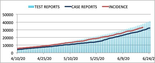 Figure 1. Number of Covid-19 cases in the Philippines, based on three tracking methods. The light blue bars represent the number of positively tested individuals, referred to as test reports. The dark blue line represents the number of Covid-19 cases based on the date of the report, referred to as case reports. The brown line represents the number of Covid-19 cases based on the date of the specimen test, referred to as incidence reports. The incidence reports best reflects the dynamics of the pandemic. However, the incidence reports do not give a real time account of the pandemic due to a time delay of about 6 days.