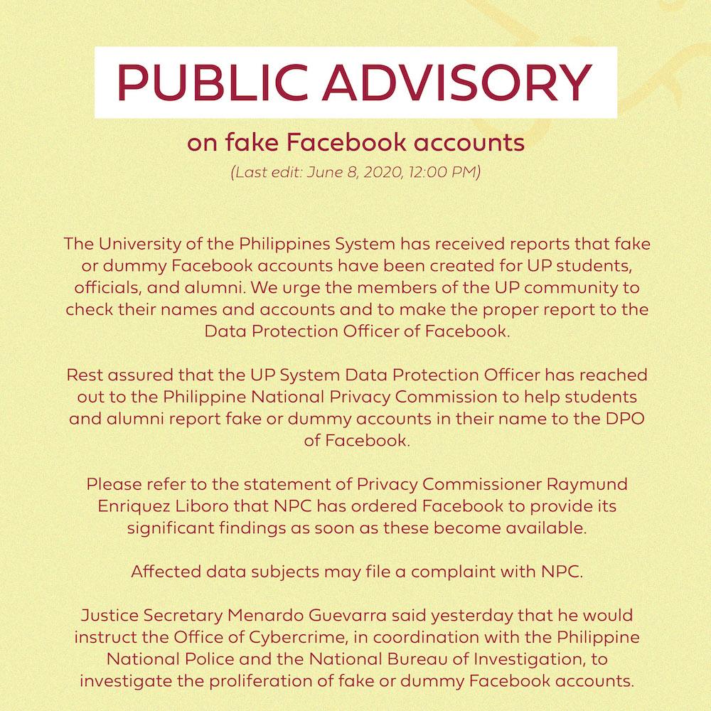 Public advisory on fake Facebook accounts