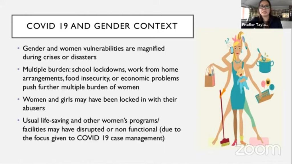 """Screenshot of Prof. Finaflor Taylan's presentation slide on """"COVID-19 and Gender Context."""""""
