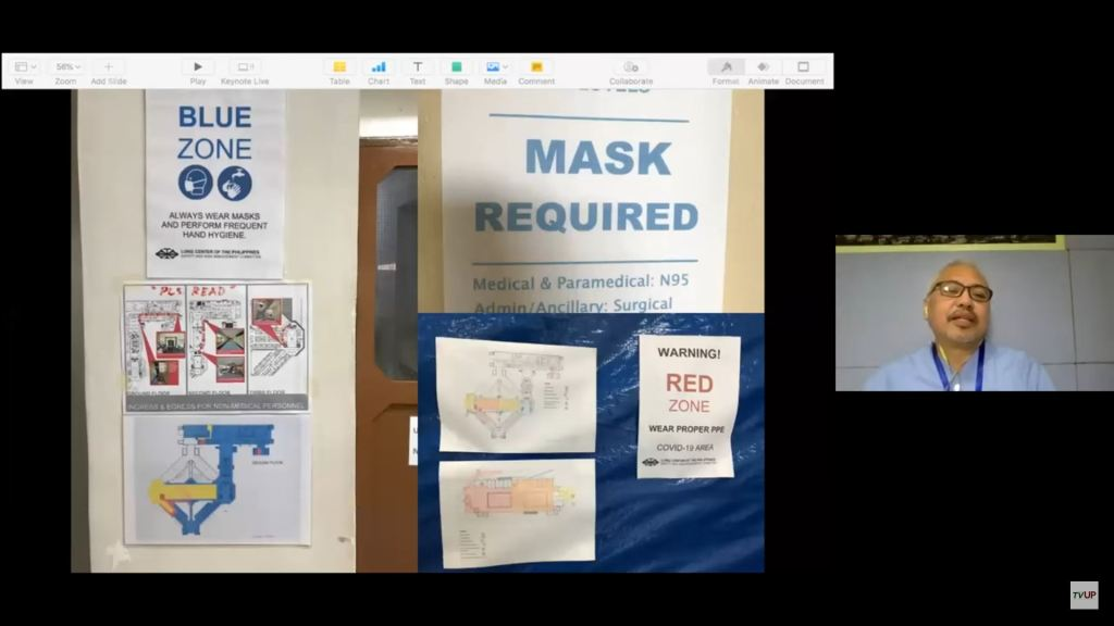 """Colored signs, pictures, maps, instructions, and reminders are posted in all corners and hallways of the LCP. Screenshot from the livestream of the sixth installment of the UP """"STOP COVID DEATHS: Clinical Management Updates"""" webinar series. (https://www.youtube.com/watch?v=kh9HxKeGnoQ)"""
