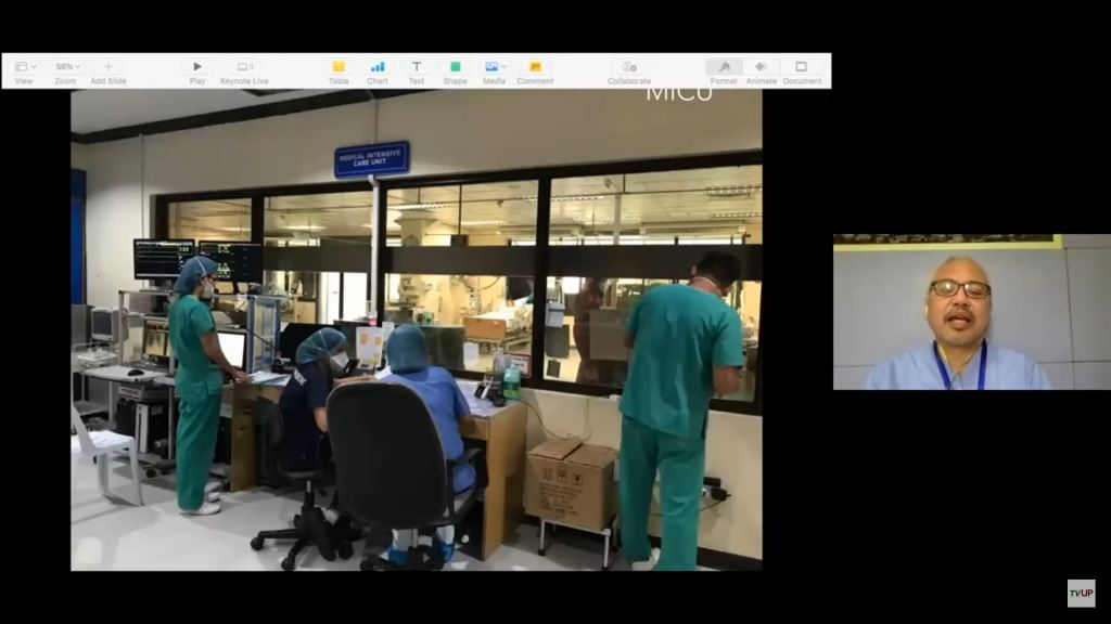 "LCP Medical Intensive Care Unit. Screenshot from the livestream of the sixth installment of the UP ""STOP COVID DEATHS: Clinical Management Updates"" webinar series. (https://www.youtube.com/watch?v=kh9HxKeGnoQ)"