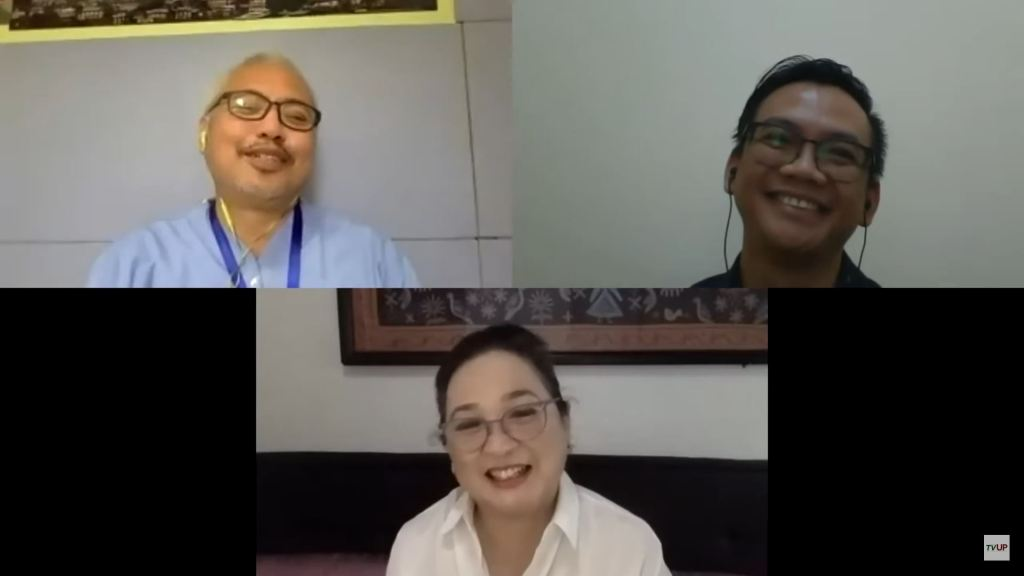 """Dr. Antonio B. Ramos, Dr. Raymond Francis Sarmiento, and Dr. Susan Pineda-Mercado. Screenshot from the livestream of the sixth installment of the UP """"STOP COVID DEATHS: Clinical Management Updates"""" webinar series. (https://www.youtube.com/watch?v=kh9HxKeGnoQ)"""