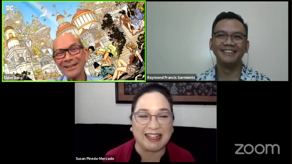"""Screenshot of """"Rehabilitation for Critical Care Survivors of COVID-19"""" showing (clockwise from top left) Dr. Celso Bate and co-moderators, Dr. Raymond Sarmiento, director of the UP Manila National Telehealth Center, and Dr. Susan Mercado, member of the Philippine Health Insurance Corporation Board of Directors"""