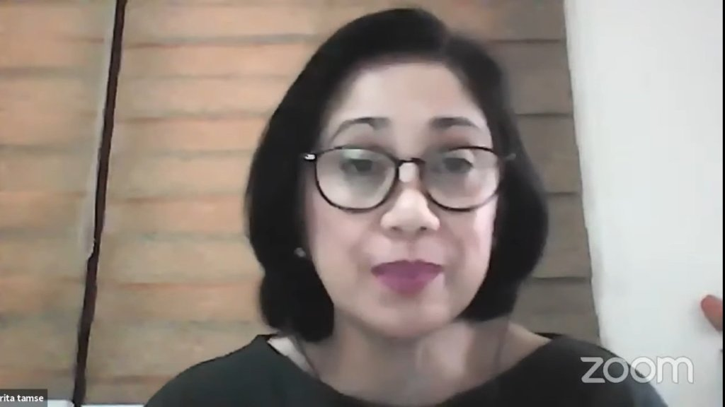 """Screenshot of Ma. Rita Villanueva-Tamse in """"Who Takes Care of the Caregivers?"""". The replay of the webinar can be viewed here. (https://networks.upou.edu.ph/28622/ltio-who-takes-care-of-the-caregivers/)"""