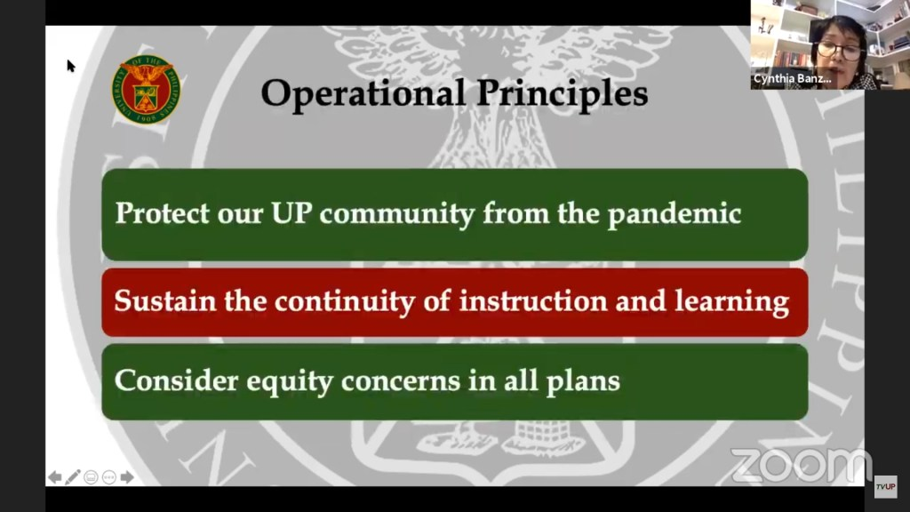 Screenshot of Vice President for Academic Affairs Cynthia Rose Bautista's message during the official launch of the Kaagapay sa Pag-aaral ng mga Iskolar ng Bayan fundraising campaign via Zoom. The replay may be viewed on TVUP's YouTube channel. [https://www.youtube.com/watch?v=JzkxRJw_eGY]