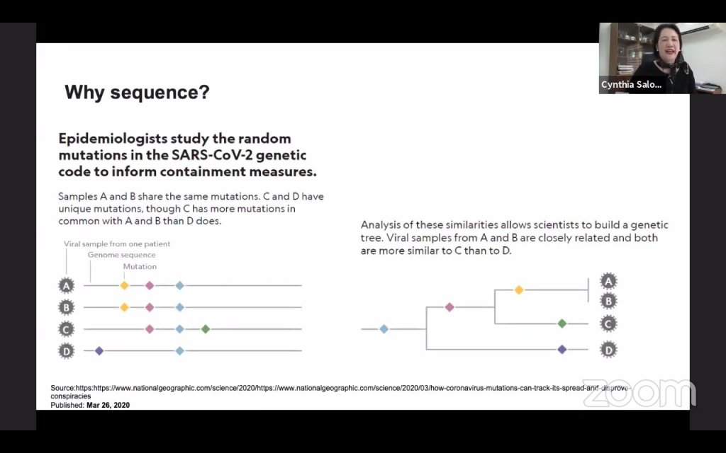"""Screenshot from the webinar """"Genetic Sequencing Research: Mutation of SARS-Cov-2 (Implications for Clinical Management and Vaccine Development)"""" aired on July 17, with replay available on the TVUP YouTube channel. [https://www.youtube.com/watch?v=PfwDc3mBKew["""