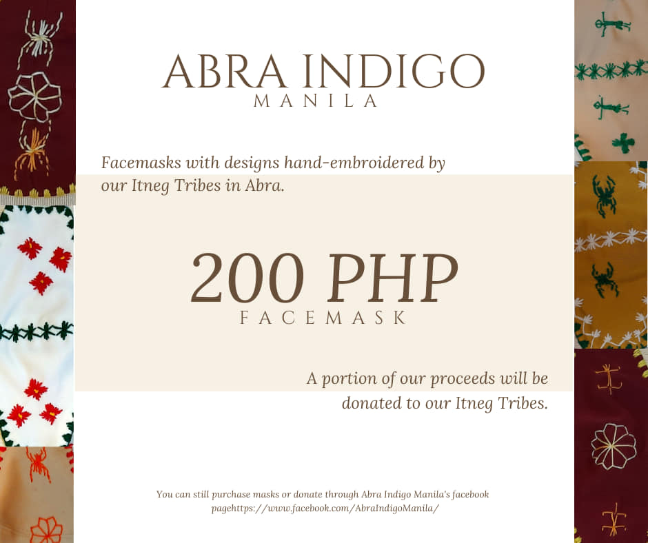The UP BadAss and Abra Indigo Manila are selling facemasks created by the Itneg community to cushion the effects of COVID-19 on their community. Photo taken from UP BadAss page. (https://facebook.com/UPBadAss)