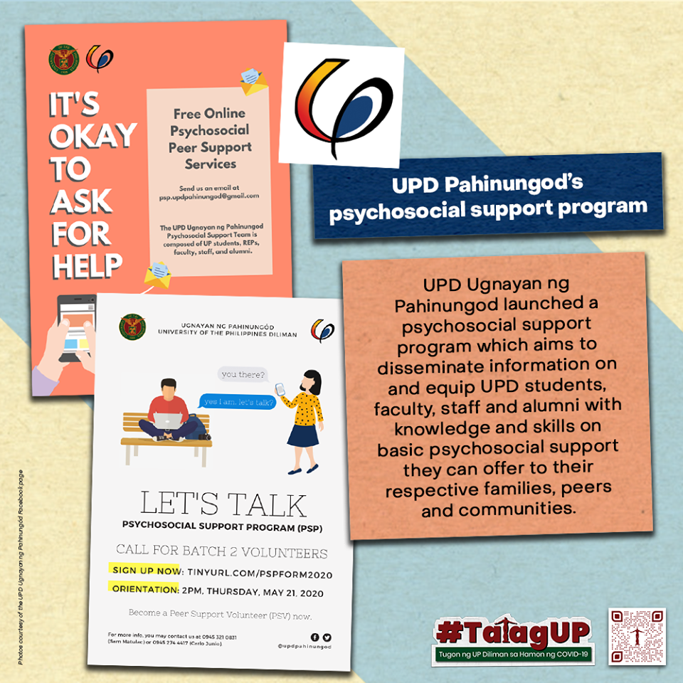 UP Diliman Ugnayan ng Pahinungòd's psychosocial support program poster. Source: UP Diliman Facebook page (facebook.com/OfficialUPDiliman/)