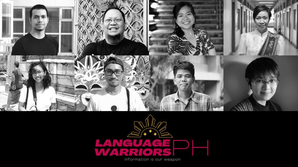 """Team Ginhawa"" or the people behind Language Warriors PH (LWPH) from the Department of Linguistics. Clockwise from top-left: Prof. Aldrin Lee, Prof. Jesus Federico Hernandez, Prof. Kristina Gallego, Prof. Mary Ann Gaitan-Bacolod, Prof. Elsie Marie Or, Prof. Vincent Christopher Santiago, Prof. Michael Manahan, Ms. Jurekah Chene Abrigo. (Volunteer faculty not in photo: Prof. April Perez, Prof. Divine Angeli Endriga, and Prof. Ria Rafael). Photo courtesy of LWPH, logo created by Elsie Marie Or."