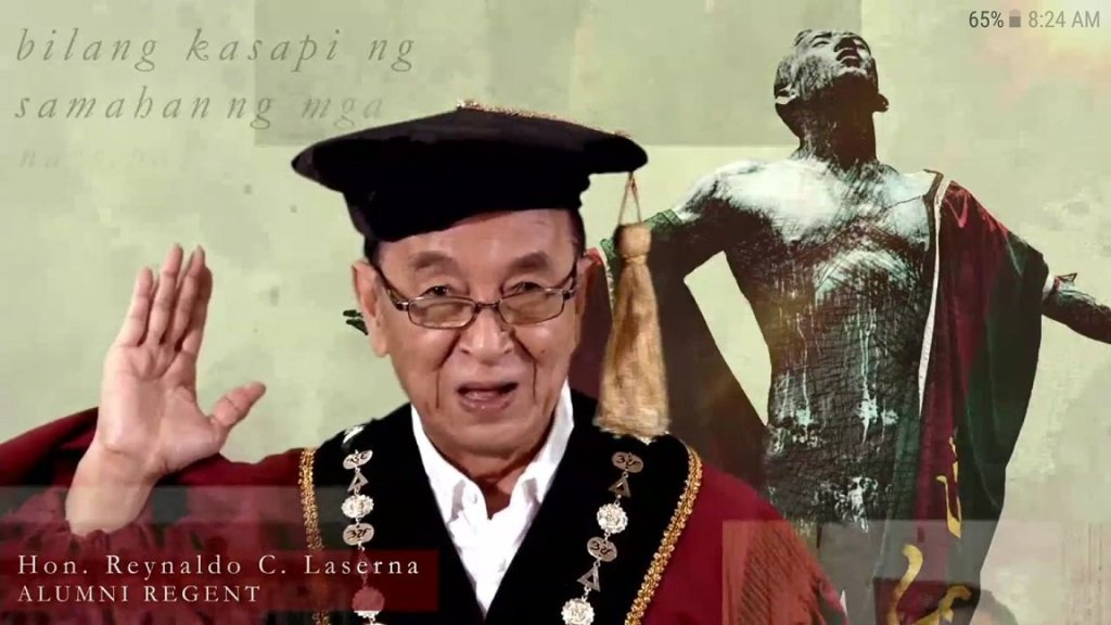 "UP Alumni Regent and President of the UP Alumni Association Reynaldo Laserna swears in the new crop of UP graduates. Screenshot of UP Diliman's ""109th Pangkalahatang Pagtatapos"", live streamed via UP Diliman's official website. Replay can be viewed at the UP Diliman YouTube channel. [https://www.youtube.com/watch?v=5ySaI6IkInY]"