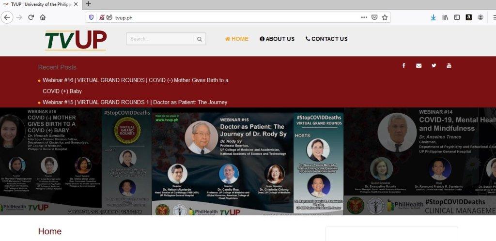 The TVUP website. (http://tvup.ph/)