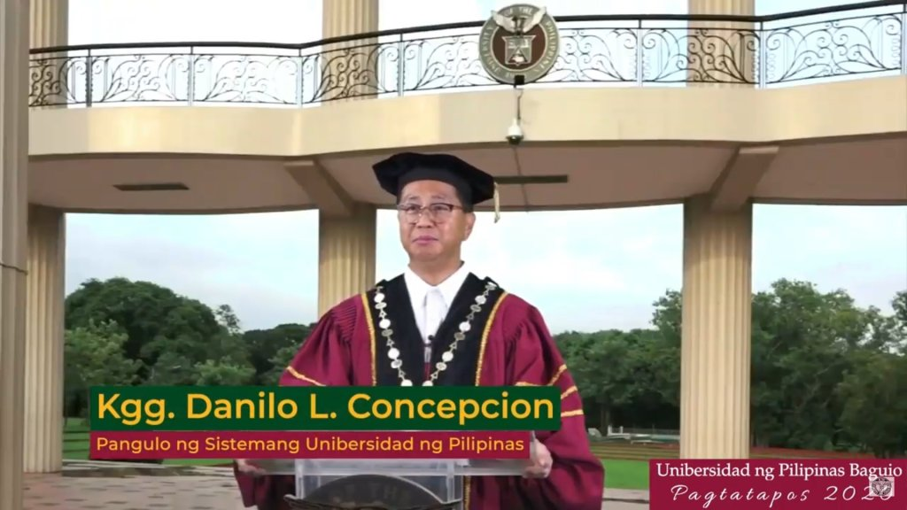 UP President Danilo L. Concepcion addresses the graduates. Screenshot from the livestream of the UP Baguio Pagtatapos 2020, with replay available at the UP Baguio Systems and Network Office's YouTube channel. [https://www.youtube.com/watch?v=lqfD4NSrGJY]