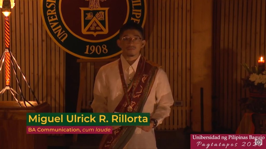 The Ritwal ng Pagtatanglaw concludes with the light passed on to a representative of Class 2020, Miguel Ulrick Rillorta, BA Communication, cum laude, who delivered his own message to his fellow graduates. Screenshot from the livestream of the UP Baguio Pagtatapos 2020, with replay available at the UP Baguio Systems and Network Office's YouTube channel. [https://www.youtube.com/watch?v=lqfD4NSrGJY]