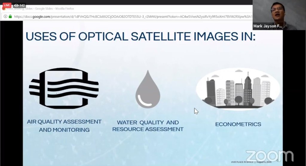 UP researcher Mark Jayson Felix of STAMINA4Space on how optical imagery can be used to track changes in the environment. Screenshot from the replay of the press briefing here. [https://www.facebook.com/STAMINA4Space/videos/611481613131623]