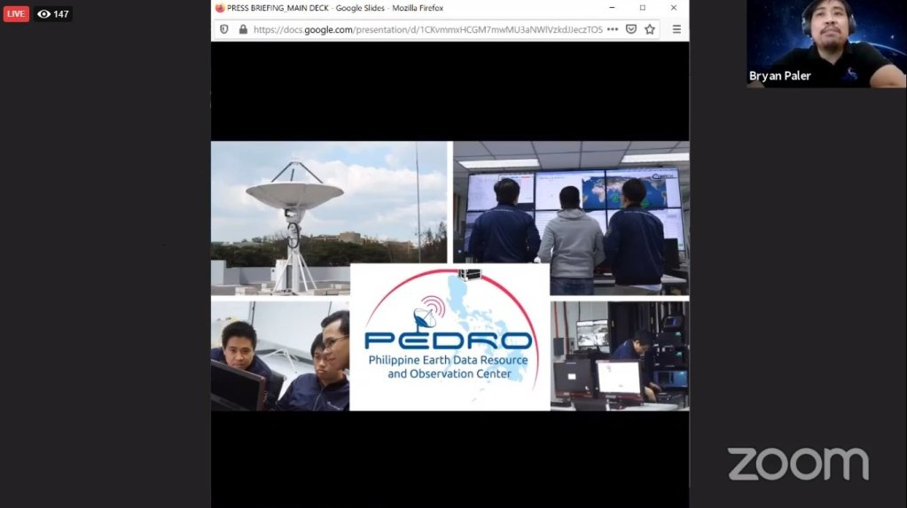 Engr. Harold Bryan Paler, Senior Science Research Specialist at the DOST-ASTI, talks about PEDRO. Screenshot from the replay of the press briefing here. [https://www.facebook.com/STAMINA4Space/videos/611481613131623]
