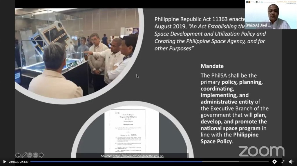 Dr. Joel Joseph Marciano, Jr., Director General of the PhilSA and faculty member of the UPD-EEEI, on the mandate of PhilSA. Screenshot from the replay of the press briefing here. [https://www.facebook.com/STAMINA4Space/videos/611481613131623]