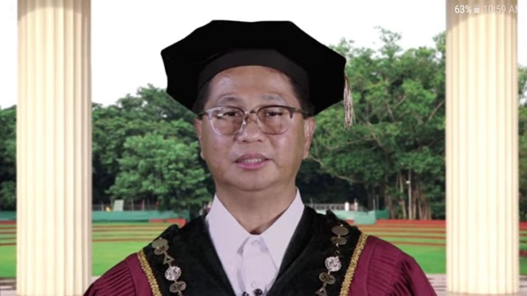 UP President Danilo L. Concepcion addressing the UPLB Class of 2020. Screenshot from the replay on UPLB's YouTube channel. [https://www.youtube.com/watch?v=UnBjK0QTKo4]