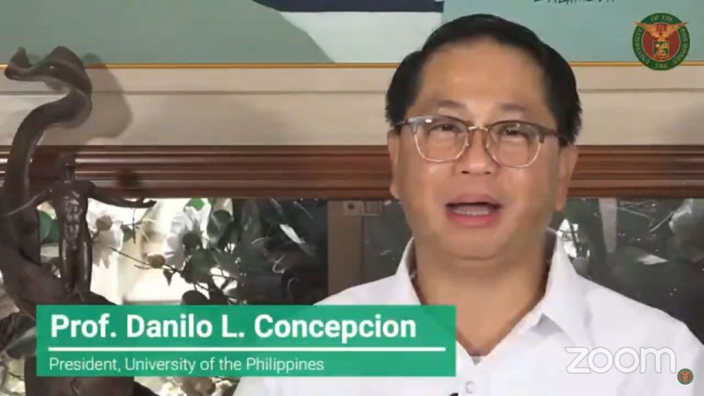 Screenshot of the UP Systemwide Opening of AY 2020-2021 Online Welcome Ceremony. The replay can be viewed on TVUP's YouTube channel.
