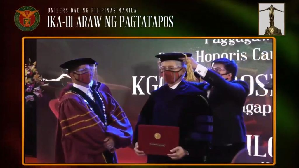 Former UP President Alfredo E. Pascual being awarded an honorary Doctor of Laws degree at UP Manila's very first virtual 111th Commencement Exercises, with current UP President Danilo L. Concepcion (left) looking on. Screenshot from the livestream of the UP Manila commencement exercises. [https://www.youtube.com/watch?v=mPtESdmgx5A]