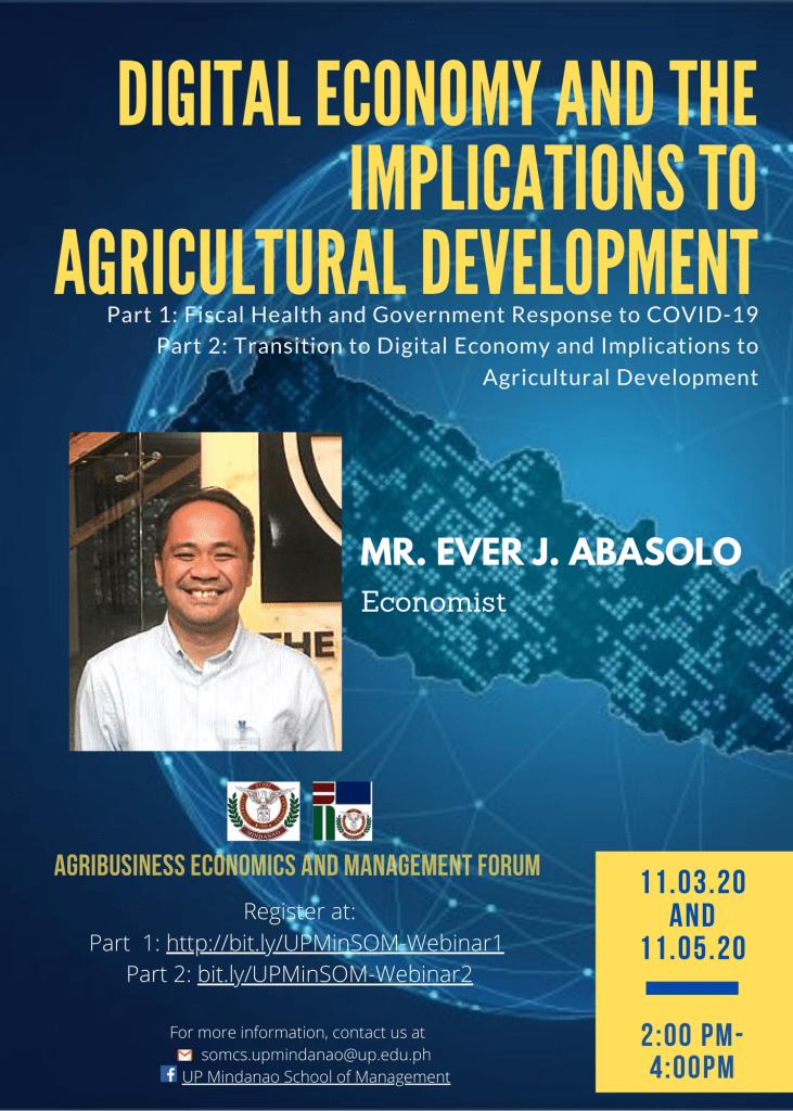 UP Mindanao webinars on the digital economy, agriculture, and food