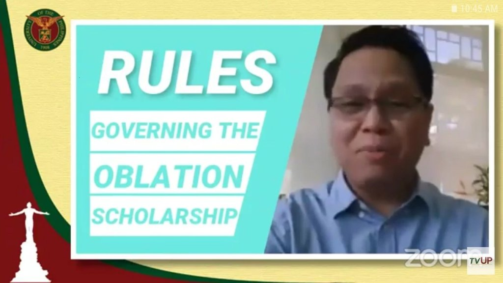 Screenshot from the Welcome Ceremony for Oblation Scholars 2020. The replay can be viewed on TVUP's YouTube channel.