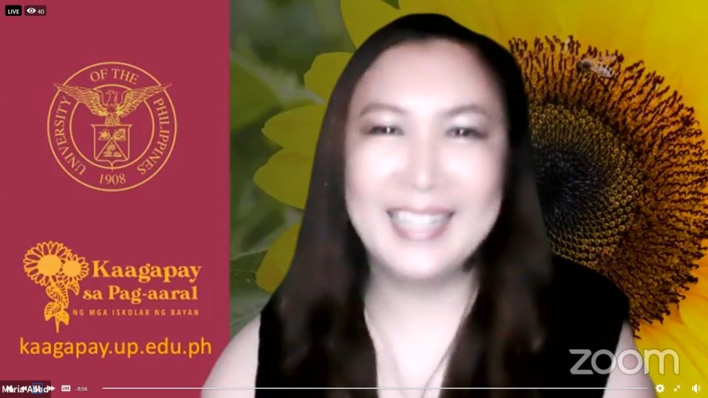 """AVP for Public Affairs and UP System OAR Director Ma. Angelica Abad. Screenshot from the UP Visayas """"Alumni Zoomcoming Day"""" held on Aug. 28."""