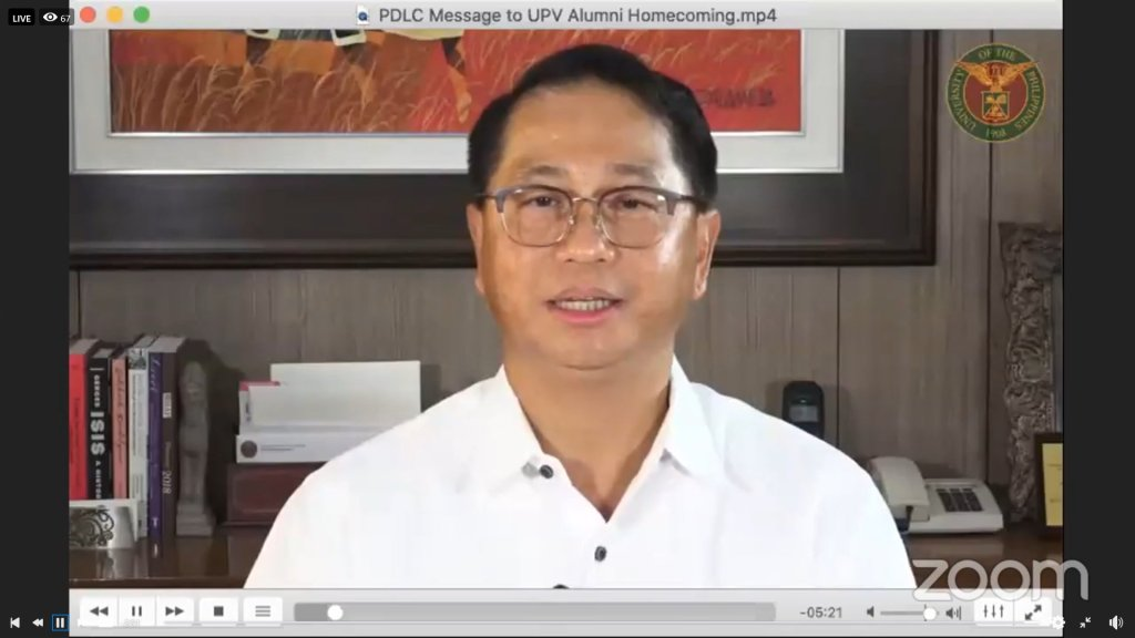 """UP President Danilo L. Concepcion. Screenshot from the UP Visayas """"Alumni Zoomcoming Day"""" held on Aug. 28."""