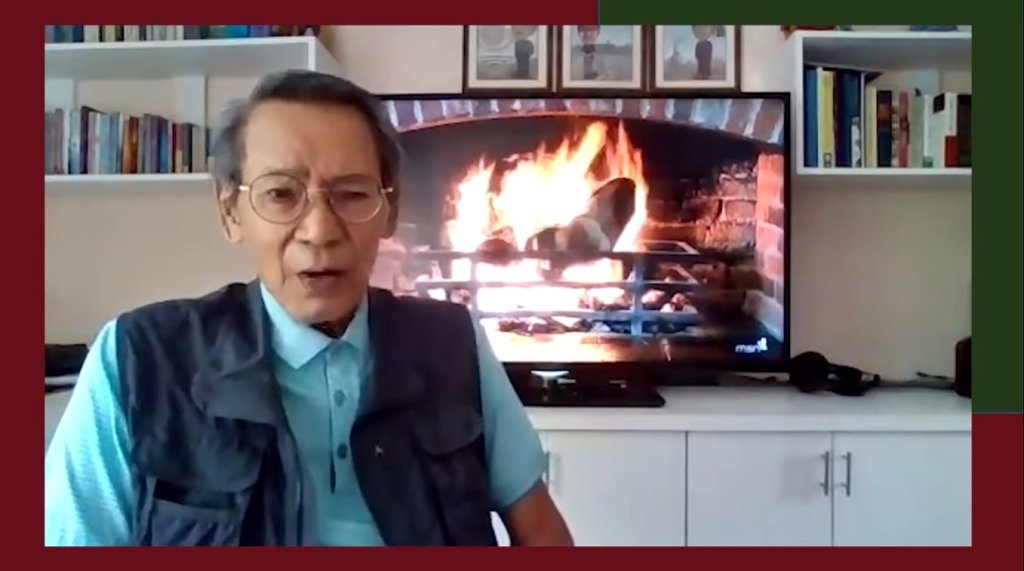 """UP Professor Emeritus Lex Librero talks about thesis and dissertation matters in a virtual fireside chat. Screenshot from the first episode of """"FICS Chat with Sir Lex"""" [https://www.youtube.com/watch?v=61EaR6Ugec8]."""
