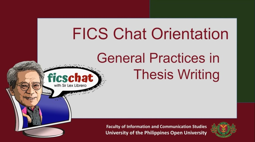 "UP Professor Emeritus Lex Librero talks about thesis and dissertation matters in a virtual fireside chat. Screenshot from the first episode of ""FICS Chat with Sir Lex"" [https://www.youtube.com/watch?v=61EaR6Ugec8]."