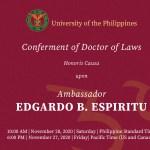 UP to confer honorary degree on UP Law alumnus and former Finance Sec. Edgardo Espiritu