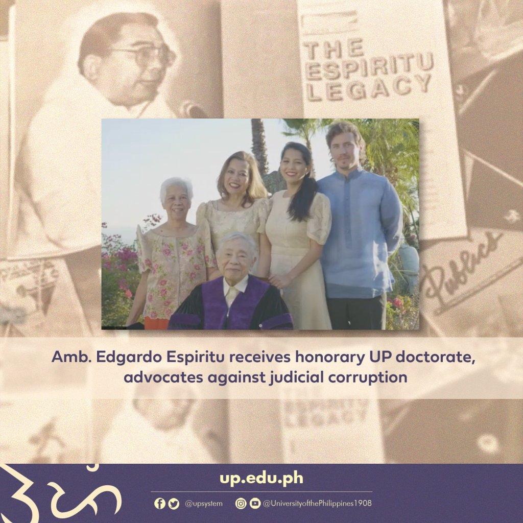 Amb. Edgardo Espiritu receives honorary UP doctorate, advocates against judicial corruption