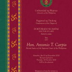 UP to confer honorary degree on former Justice Antonio Carpio
