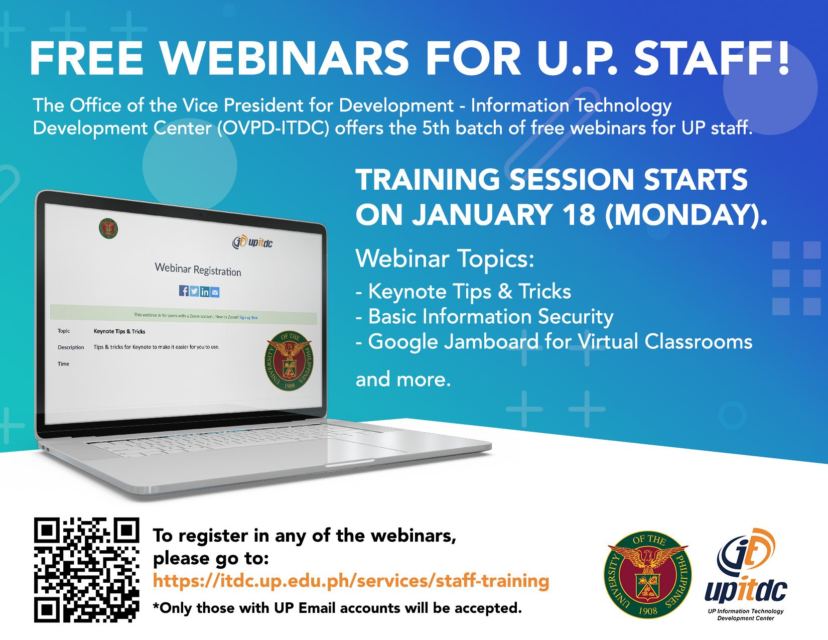 Free webinars for UP employees