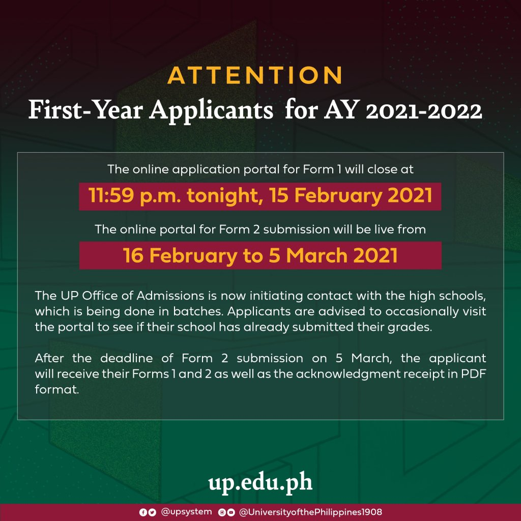 Attention UP First-Year Applicants for AY 2021-2022