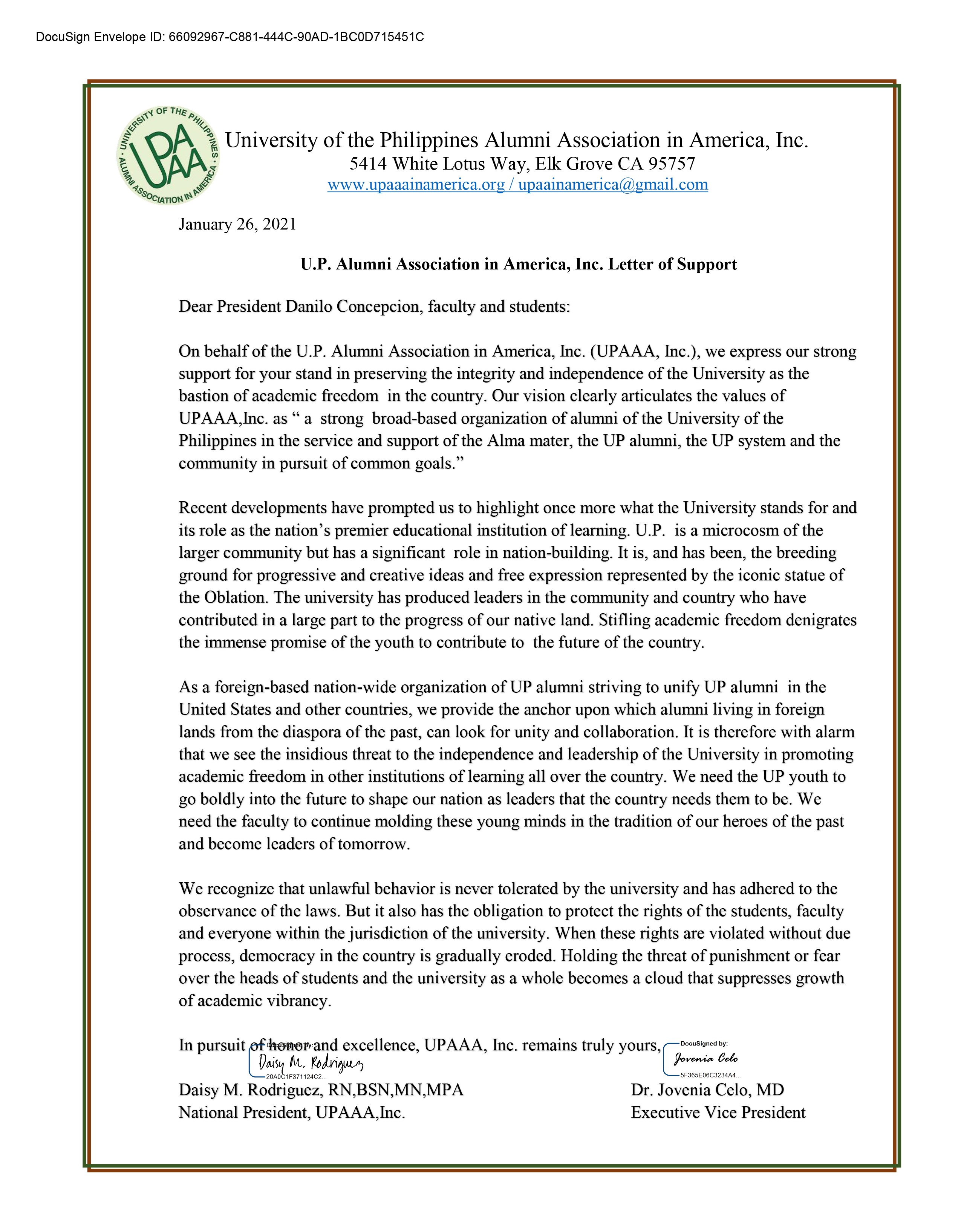 UP Alumni Association in America, Inc. supports UP's fight for academic freedom